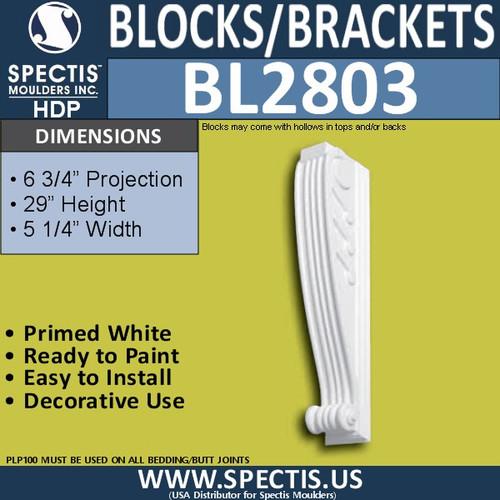 "BL2803 Eave Block or Bracket 4""W x 28""H x 6.5"" P"