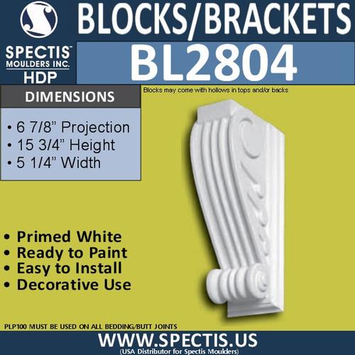 "BL2804 Eave Block or Bracket 4""W x 16""H x 6.5"" P"