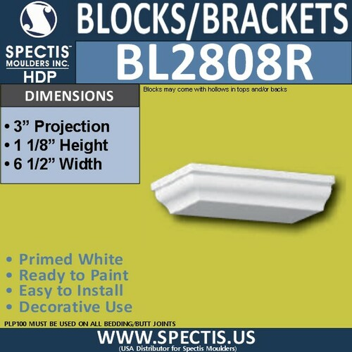 """BL2808R Right Eave Block or Bracket 6.5""""W x 1.1""""H x 3"""" P"""