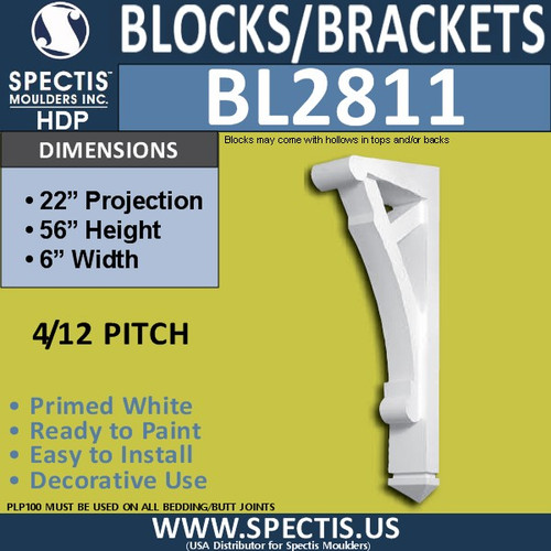 "BL2811 Eave Block or Bracket 6""W x 56""H x 22"" P"