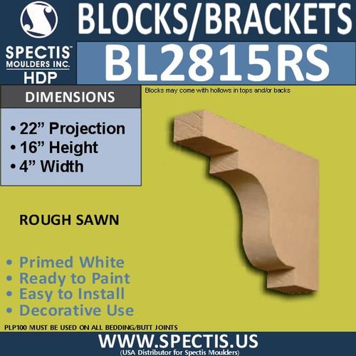 """BL2815RS Rough Sawn Bracket 4""""W x 16""""H x 22"""" P"""