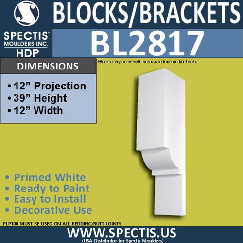 "BL2817 Eave Block or Bracket 12""W x 39""H x 12"" P"