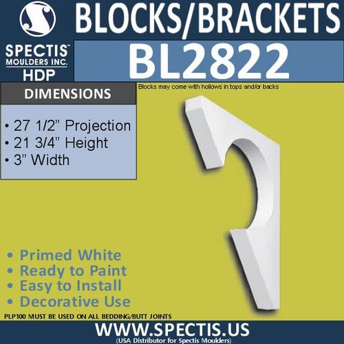 "BL2822 Eave Block or Bracket 3""W x 21.75""H x 27.5"" P"
