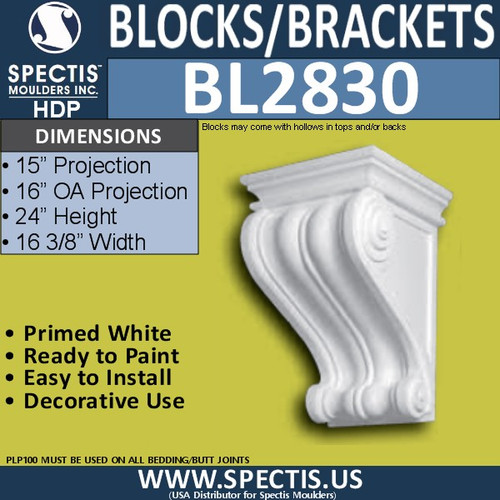 "BL2830 Eave Block or Bracket 16.2""W x 24""H x 15"" P"