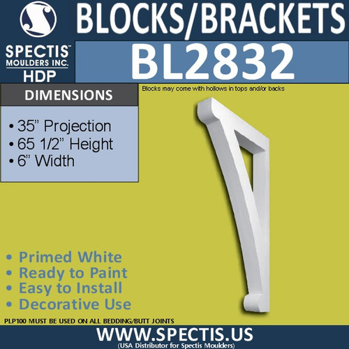 "BL2832 Eave Block or Bracket 6""W x 65.5""H x 35"" P"