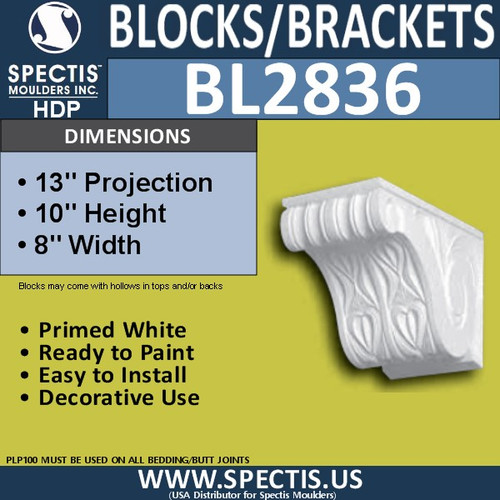 "BL2836 Eave Block or Bracket 8""W x 10""H x 13"" P"