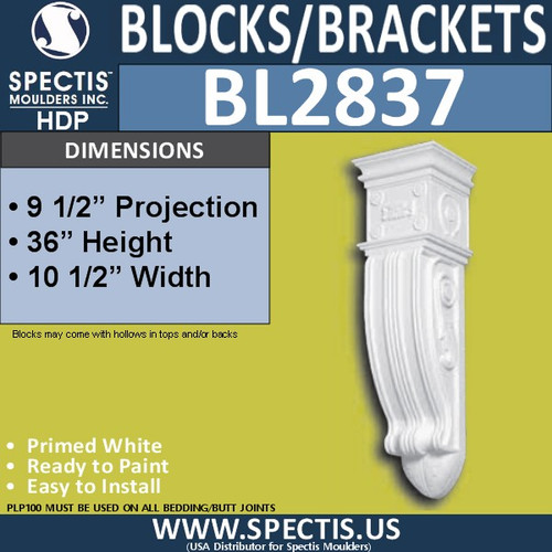 "BL2837 Eave Block or Bracket 10.5""W x 36""H x 9.5"" P"