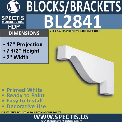 "BL2841 Eave Block or Bracket 2""W x 7.5""H x 17"" P"