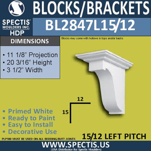 "BL2847L-15/12 Pitch Eave Block/Bracket 3.5""W x 20.2""H x 11.1"" P"