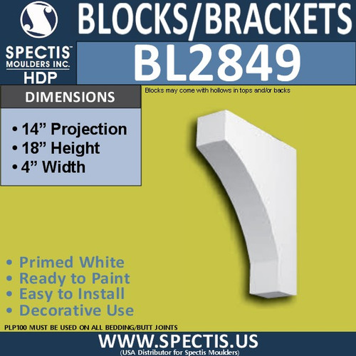 "BL2849 Eave Block or Bracket 4""W x 18""H x 14"" P"