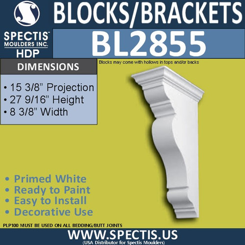 "BL2855 Eave Block or Bracket 8.3""W x 27.5""H x 15.5"" P"