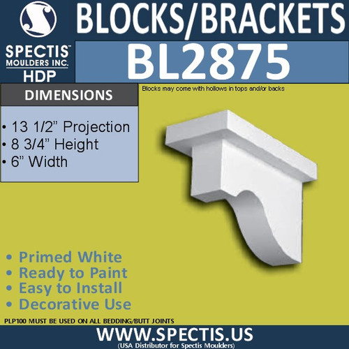 "BL2875 Eave Block or Bracket 6""W x 8.75""H x 13.5"" P"