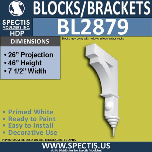 "BL2879 Eave Block or Bracket 7.5""W x 46""H x 26"" P"