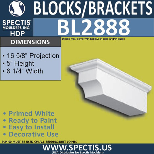 "BL2888 Eave Block or Bracket 6.25""W x 5""H x 15.6"" P"