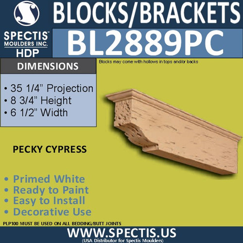 "BL2889PC Pecky Cypress Bracket 6.5""W x 8.75""H x 35"" P"