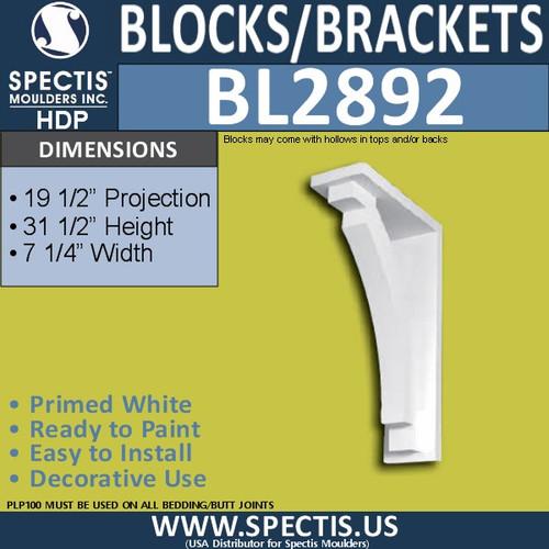 "BL2892 Eave Block or Bracket 7.25""W x 31.5""H x 19.5"" P"