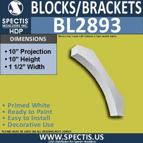 "BL2893 Eave Block or Bracket 1.5""W x 10""H x 10"" P"
