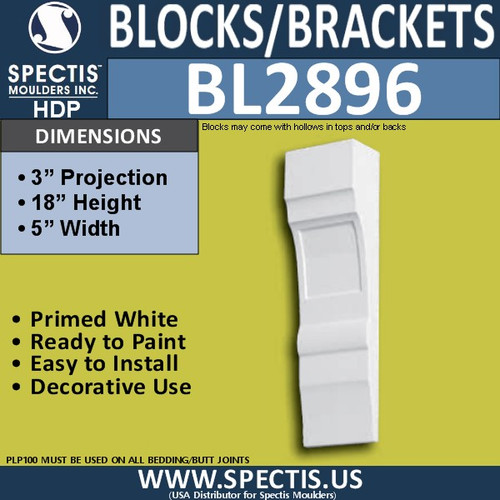 "BL2896 Eave Block or Bracket 5""W x 18""H x 3"" P"