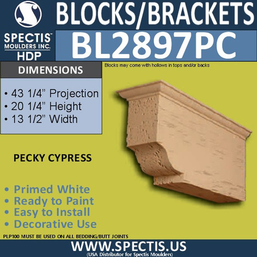 "BL2897PC Pecky Cypress Bracket 13.5""W x 20.25""H x 43.25"" P"
