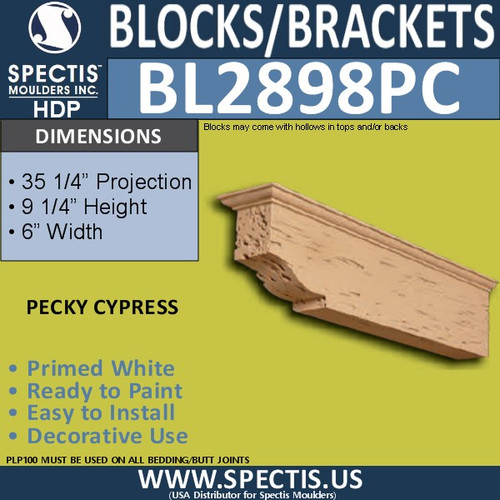 "BL2898PC Pecky Cypress Bracket 9.25""W x 6""H x 35.25"" P"