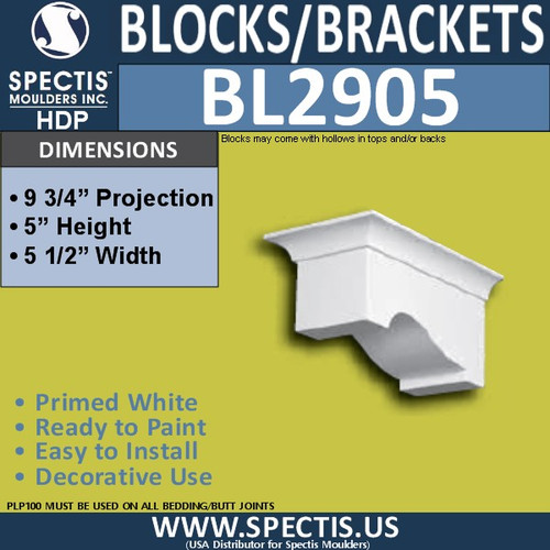 "BL2905 Eave Block or Bracket 5.5""W x 5""H x 9.75"" P"