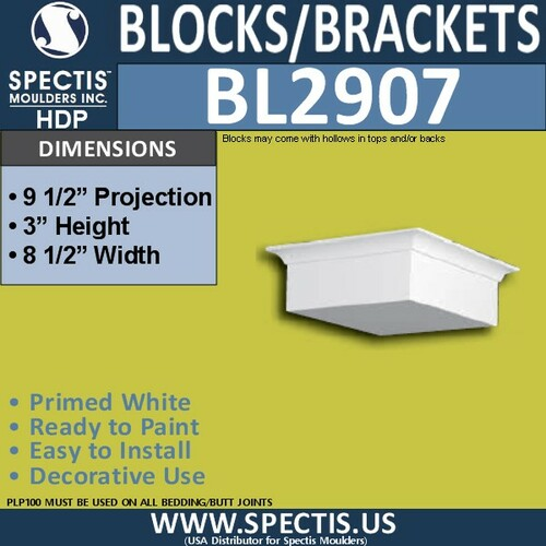 "BL2907 Eave Block or Bracket 8.5""W x 3""H x 9.5"" P"