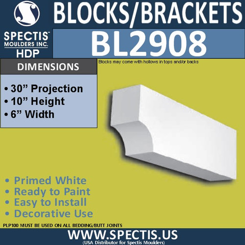 "BL2908 Eave Block or Bracket 6""W x 10""H x 30"" P"