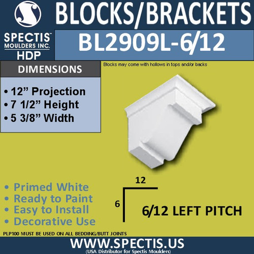 "BL2909L-6/12 Pitch Eave Bracket 5.25""W x 7.5""H x 12"" P"