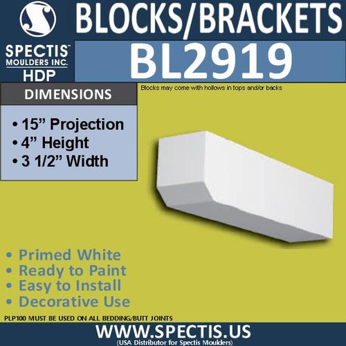 "BL2919 Eave Block or Bracket 3.5""W x 4""H x 15"" P"