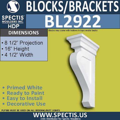 "BL2922 Eave Block or Bracket 4.5""W x 16""H x 8.5"" P"