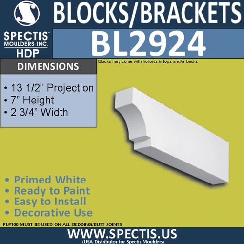 "BL2924 Eave Block or Bracket 13.5""W x 7""H x 2.75"" P"