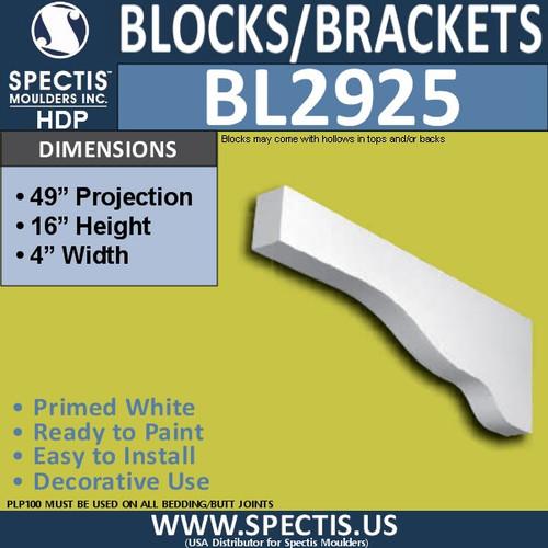 "BL2925 Eave Block or Bracket 4""W x 16""H x 49"" P"
