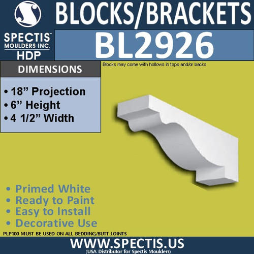 "BL2926 Eave Block or Bracket 4.5""W x 6""H x 18"" P"