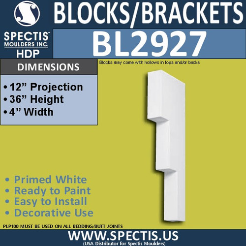 "BL2927 Eave Block or Bracket 4""W x 36""H x 12"" P"