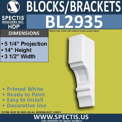 "BL2935 Eave Block or Bracket 3.5""W x 14""H x 5.25"" P"