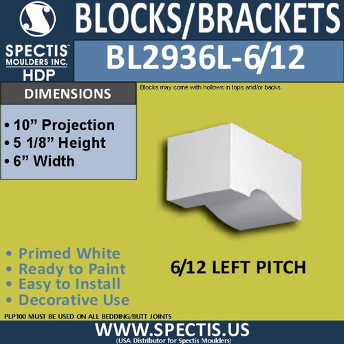 "BL2936L-6/12 Pitch Eave Block or Bracket 6""W x 5.2""H x 10"" P"