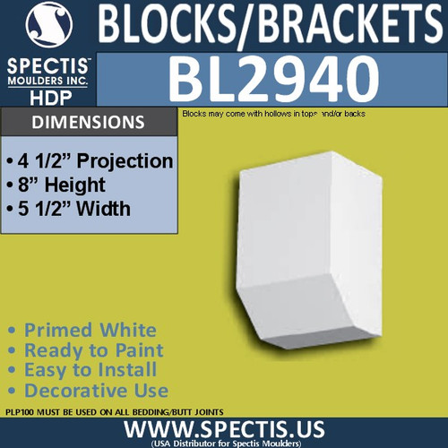 "BL2940 Eave Block or Bracket 5.5""W x 8""H x 4.5"" P"