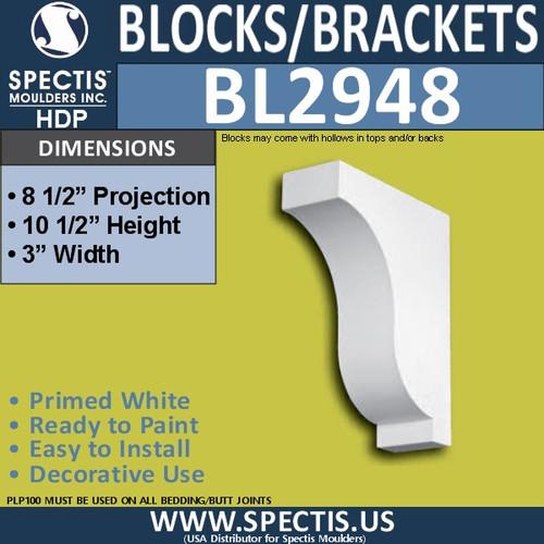 "BL2948 Eave Block or Bracket 3""W x 8.5""H x 8.5"" P"