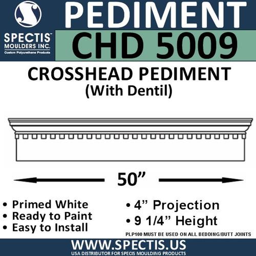 "CHD5009 Crosshead Pediment with Dentil 9 1/4"" x 50"""