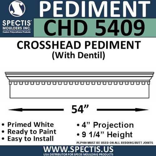 "CHD5409 Crosshead Pediment with Dentil 9 1/4"" x 54"""