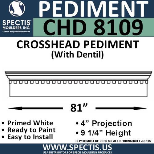 "CHD8109 Crosshead Pediment with Dentil 9 1/4"" x 81"""