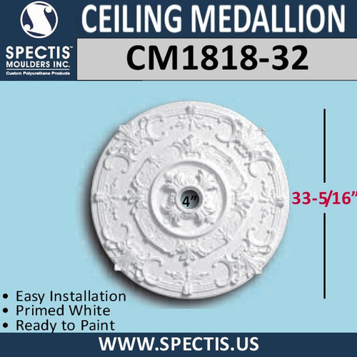 "CM1818-32 Decorative Ceiling Medallion 4"" Hole x 33-5/16"" Round"
