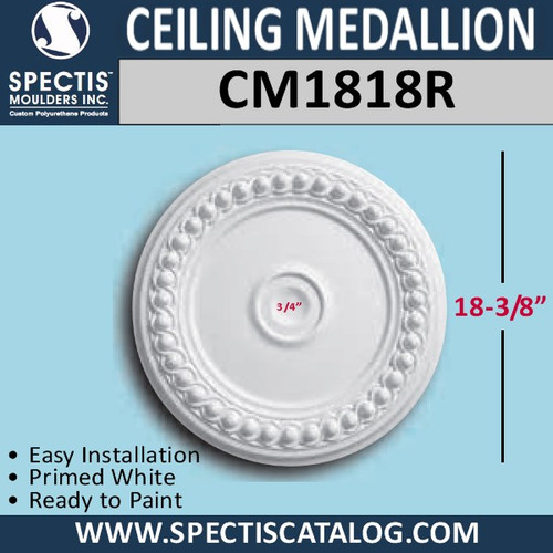"CM1818R Decorative Ceiling Medallion 3/4"" Hole x 18-3/8"" Round"