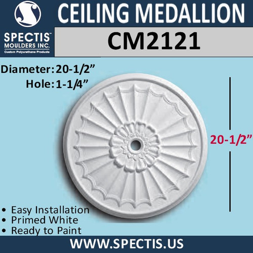 "CM2121 Decorative Ceiling Medallion 1 1/4"" Hole x 20-1/2"" Round"