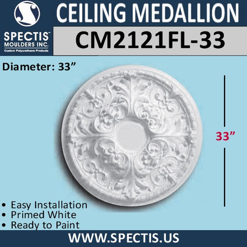"CM2121FL-33 Decorative Ceiling Medallion 3-3/8"" Hole x 33"" Round"