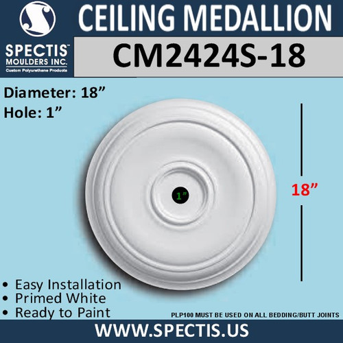 "CM2424S-18 Decorative Ceiling Medallion 1"" Hole x 18"" Round"