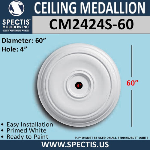 "CM2424S-60 Decorative Ceiling Medallion 4"" Hole x 60"" Round"