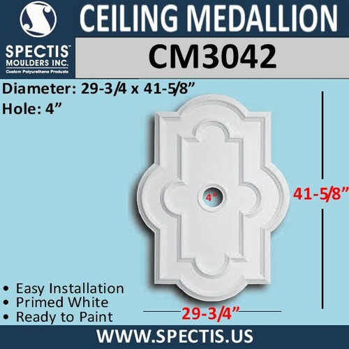 "CM3042 Rectangle Ceiling Medallion 4"" Hole x 29 3/4"" x 41 5/8"""
