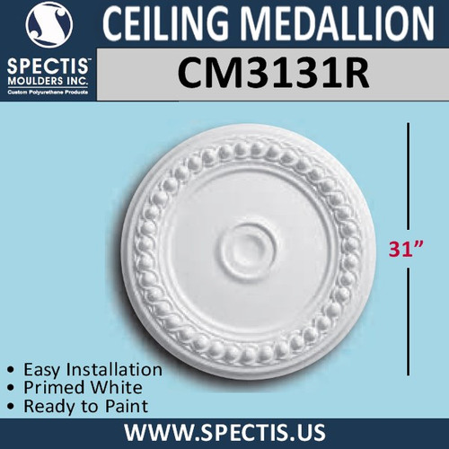 "CM3131R Decorative Urethane Ceiling Medallion 31"" Round"