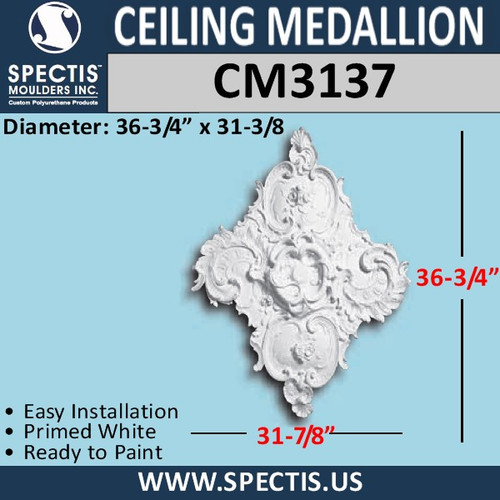 CM3137 Diamond Shape Ceiling Medallion 31 3/8 x 36 3/4""